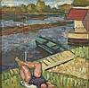 Louis LATAPIE (1891-1972)   La sieste sur la berge   Huile sur panneau, signée en bas à droite   29,5 x 29,5 cm, Louis Robert Arthur Latapie, €800