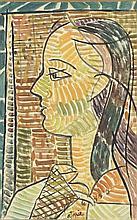 Louis Robert Arthur LATAPIE (1891-1972)  Femme de profil  Gouache sur papier maroulée sur toile, signée en bas au milieu  Titrée, signée et datée au dos  51 x 33 cm