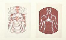 Victor VASARELY (1906-1997) Sans titre, travail publicitaire Deux dessins au crayon et gouache sur papier 28 × 37 cm chaque L'authenticité de cette œuvre a été confirmée par Pierre Vasarely. Cette œuvre sera incluse dans le catalogue raisonné