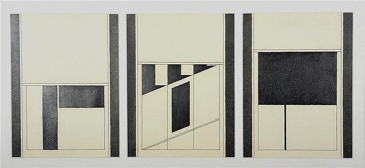 Nicolas PETROCHKINE (Né en 1946)   Triptyque, 1991  Trois dessins à l'encre et à la mine de plomb, signés en cyrillique et datés au dos.  Dimensions de chaque dessin : 48 x 36 cm