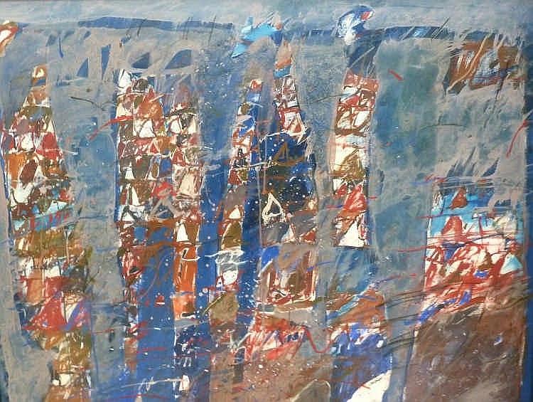 Christian BARBANÇON (1940-1993)  Composition  Huile sur toile signé