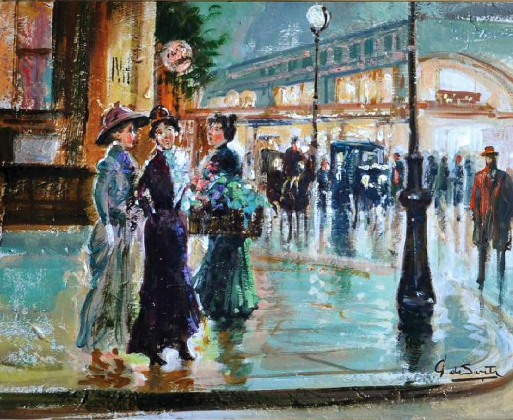 Giuseppe De SANCTIS (1858 - 1924)   Sur les Grands Boulevards, Paris