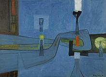 "Sigismond KOLOS VARY (1889-1983) ""Un soir..."",1975 Huile sur toil"