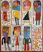 Christophe JEHAN (Né en 1961) 8 personnages Acrylique sur toile,