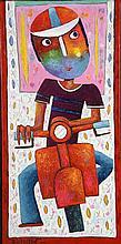 Christophe JEHAN (Né en 1961) Garçon au scooter Acrylique sur toi