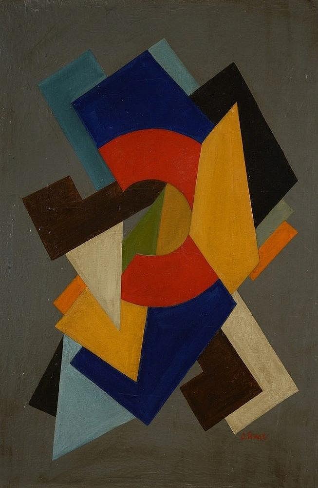 Oscar TRONECK (Actif au début du XXème siècle)   Composition géométriqu