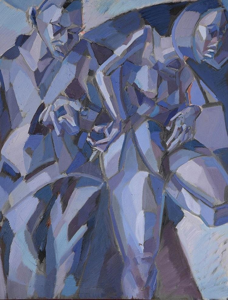 Marek PIOTROWSKI (XXème siècle)  Nu sur fond bleu, 1997  Huile sur