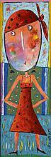 Christophe JEHAN (Né en 1961) La gitane Acrylique sur toile, sign