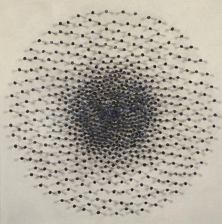 Monika BUCH (Née en 1936), Espagne  Utrecht,1973  Acrylique et clou