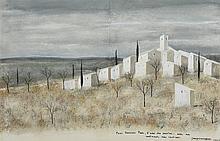 """Jean-Pierre CAPRON (1921-1997) Village,1963"""" Gouache sur papier, signée et"""