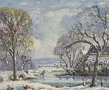 """Emmanuel DE LA VILLÉON (1858-1944) Patinage en hiver, 1931"""" Huile sur toile"""