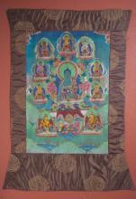 Tanka figurant le paradis du Buddha Amitayus entourée des Dyani Buddha et de deux attendants autour d'offrandes.