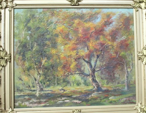 Original Signed Oil Painting by California Artist in Gilt Frame
