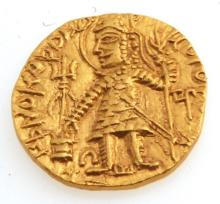 Ancient Kushan Gold Coin Grandson of Kushan Period Vasudeva