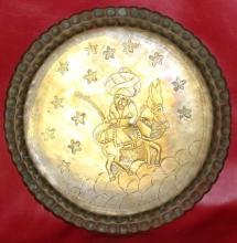 Ancient Islamic Handmade Brass Tray with Donkey & Celestial Motiff w/ Patina 17