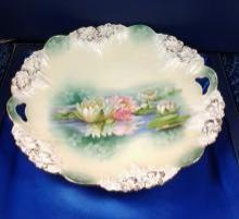 Antique German Water Lilies Cake Plate by R.S Prussia w. Gold Trim 11