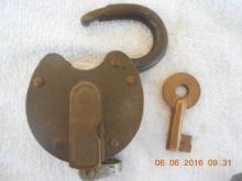 Old Collectible Brass Lock & Key