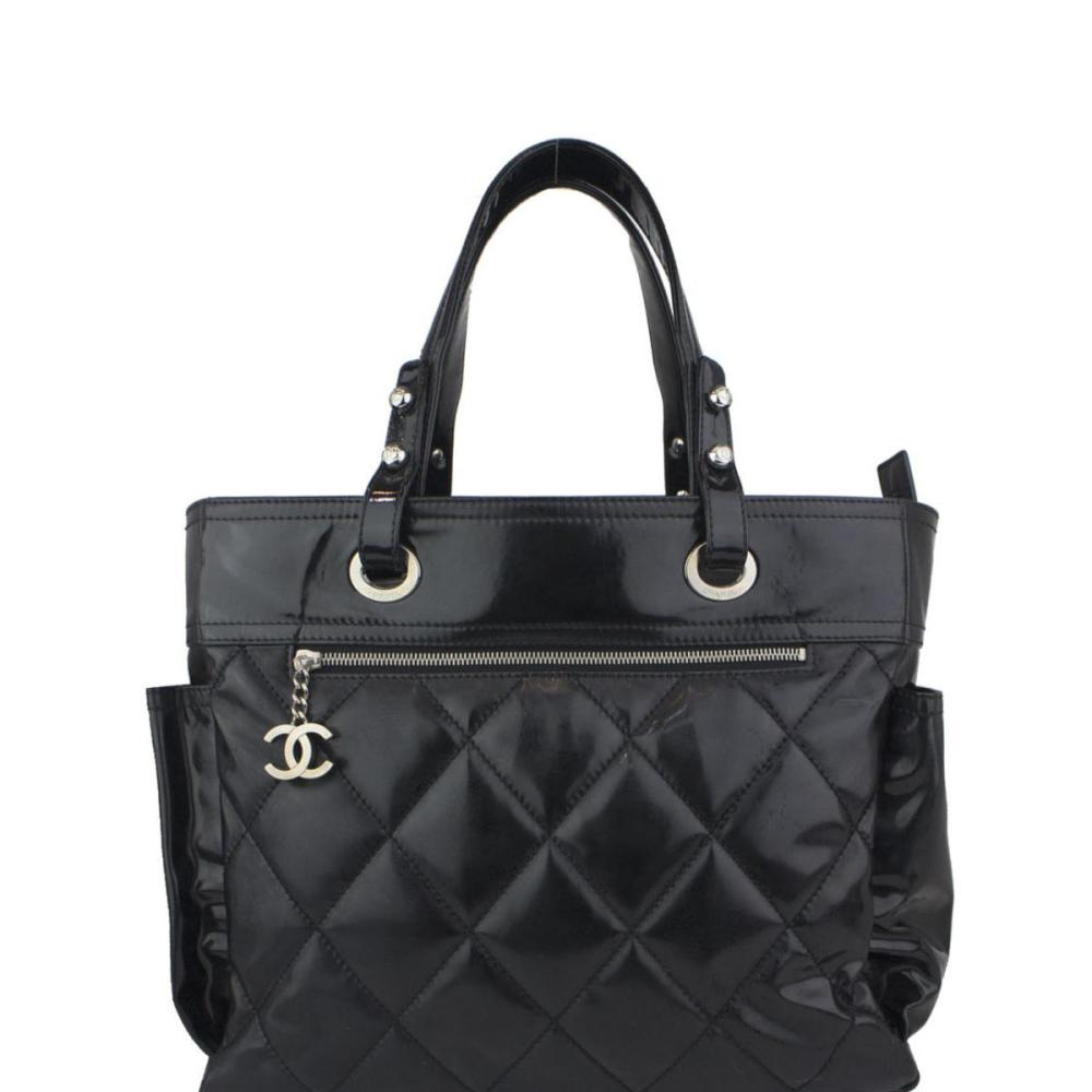 953fae1451 CHANEL Black Quilted Patent Leather Paris Biarritz Grand Sho