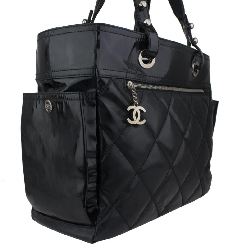 3492713bc2 CHANEL Black Quilted Patent Leather Paris Biarritz Grand Shopping Tote Bag