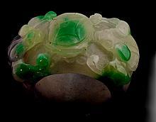 Huge 134cts Tri-Color Jade Carved Ring 36mm (Lavendar, Green & White)