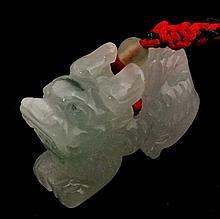 Huge 135cts Icy Green Jade Foo Dog Figurine 40mm