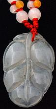 Large 50ct Icy White Jade Leaf Carving 38mm