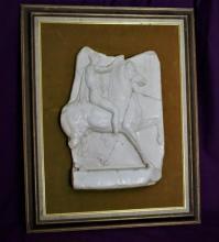 Ancient White Marble Trojan Horse & Ridder Sculpture Relief
