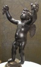 Antique 19th C French Bronze Cupid on Mount w. Gilt 10