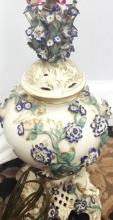 Antique c1880 Fine Dresden Porcelain Gilt Lamp w. Violet Flowers & Cupids 27