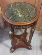 Antique c1880 French Gueridon Marble Top Table w. Bronze Décor