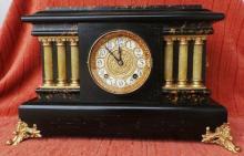 Antique c1881 French Slate & Gilt Mantle Clock (Serviced)