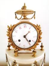 Antique c1915 French Marble & Gilt Bronze Mantle Clock 16.00