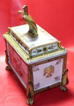 Antique Ca 1800 Gilt French Faience Box w. Footed Legs & Eagle Lid Handle 10x8x6, 3-lbs