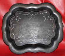 Antique French 19th C Papier Mache Tray w. Pearl In-Lay 16x13