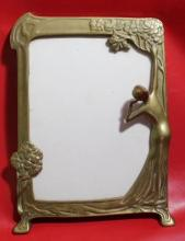 Antique French Art Nouveau Brass & Copper Frame, 13x10x2.25