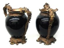 Antique French Bronze & Porcelain Vases 50-pounds
