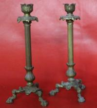 Antique French Bronze Candle Sticks (pair) 10.5