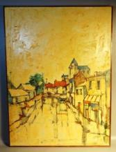 Mayodon French Signed c1960s Oil on Canvas 30x22