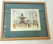 Vintage Signed French Framed Fountain in Paris Painting