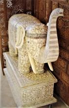 Huge Elephant Statue: Bone Art w. Tusks-Flowers-Dragons