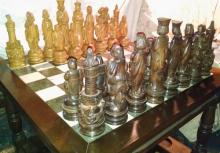 Antique Chinese Teak & Marble Chess Set