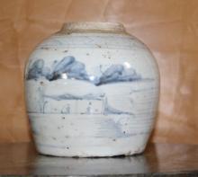 Old Asian Jar White & Blue Porcelain Under-Glaze