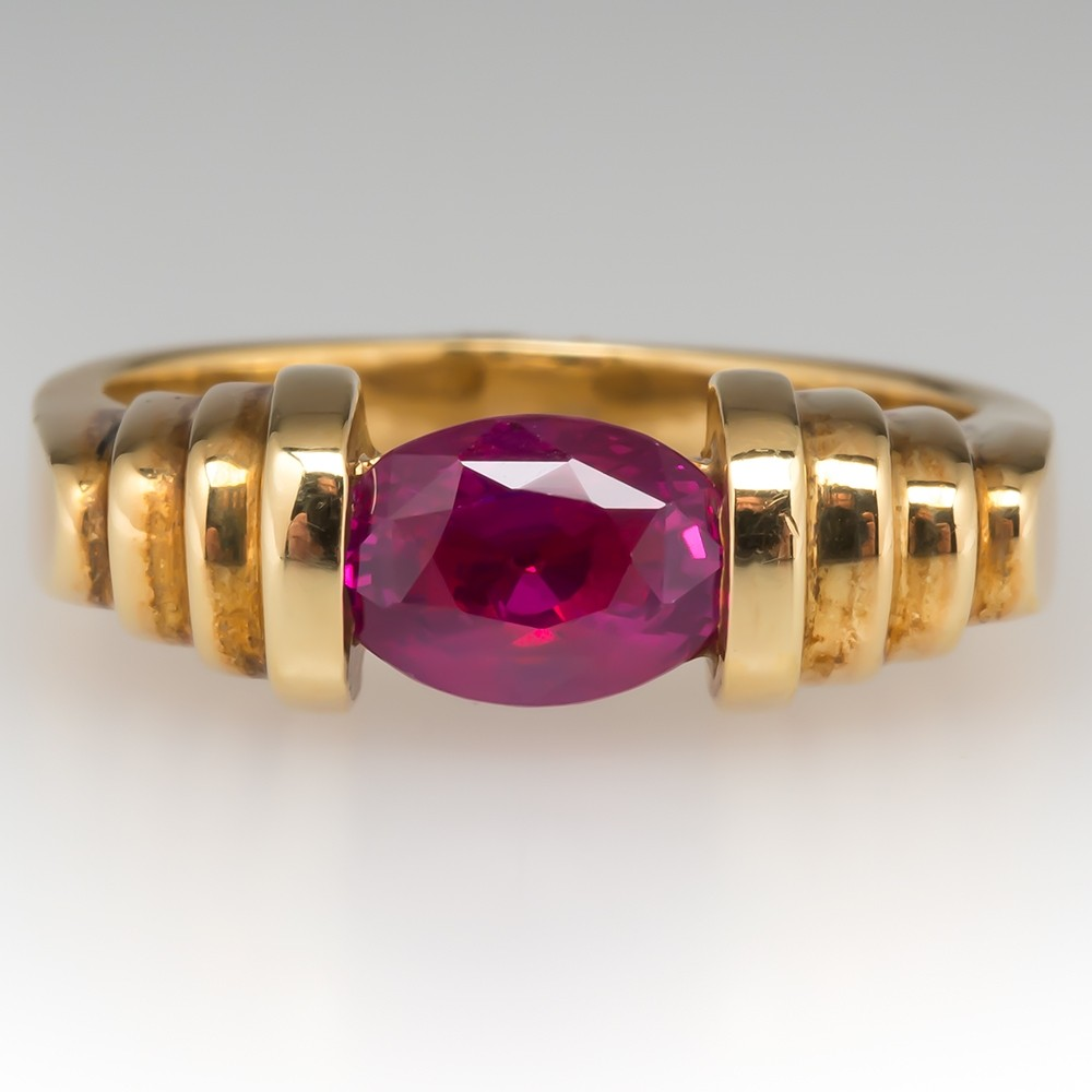Certified Natural Ruby Solitaire In 18k Gold