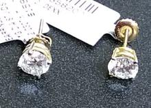14K Yellow Gold Diamond Stud Earrings 2.00cts
