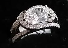 18K Gold Diamond Engagement Ring w. Oval Centerstone 2.50ctw