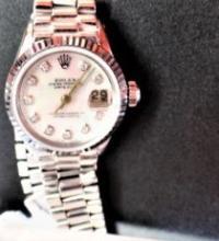 18K Gold Rolex Watch w. MOP Face & Diamond Numerals