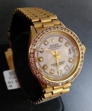 18K Yellow Gold Rolex w. Diamond Numerals & Bezel