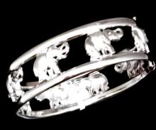 Cartier Inspired 18K White Gold Hinged Cuff Bangle