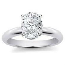 1.00 ct Oval Diamond Solitaire Ring : 18K White Gold (Certified)