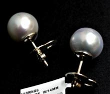 Estate 14K White Gold South Sea Pearl Earrings 15mm